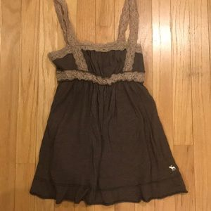 Abercrombie kids brown tank top with lace details